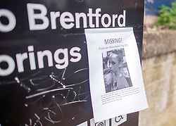 © Licensed to London News Pictures. 05/09/2014. Brentford, UK A missing persons poster featuring missing schoolgirl Alice Gross aged 14. Alice Gross of Hanwell, west London, was last seen by her family at about 13:00 BST on 28 August. CCTV footage shows her walking along the Grand Union Canal tow path near the Holiday Inn at Brentford Lock between 13:30 BST and 17:30 BST.. Photo credit : Stephen Simpson/LNP