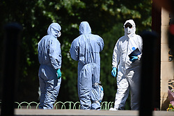 © Licensed to London News Pictures. 22/06/2020. Reading, UK. Police forensics at Forbury Gardens in Reading town centre where three people were stabbed to death in a terrorist attack. Several other people were injured in the attack which was carried out by Libyan asylum seeker Khairi Saadallah, who is currently in custody. . Photo credit: Ben Cawthra/LNP