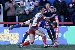 Wakefield Trinity's Tom Johnstone touches down but is ruled out during the Betfred Super League match at Belle Vue, Wakefield.