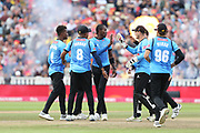 Sussex's Jofra Archer congratulated for his wicket during the Vitality T20 Finals Day semi final 2018 match between Sussex Sharks and Somerset at Edgbaston, Birmingham, United Kingdom on 15 September 2018.