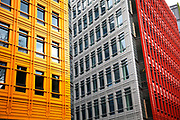 Brightly painted buildings in central London. Part of a new architectural development in central London.