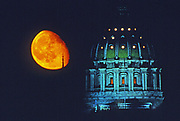 Moon over Pennsylvania capitol dome, Harrisburg