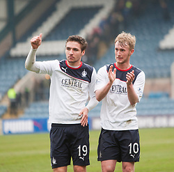 Falkirk's Luke Leahy and Craig Sibbald at the end.<br /> Dundee 0 v 1 Falkirk, Scottish Championship game played today at Dundee's Dens Park.<br /> © Michael Schofield.