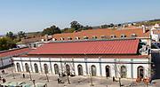 Market building from above city of Evora, Alto Alentejo, Portugal - Mercado Municipal de Évora