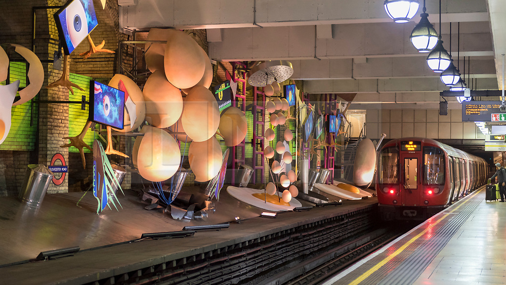 """© Licensed to London News Pictures. 07/06/2018. LONDON, UK.  A new artwork """"my name is lettie eggyscrub"""", by British artist Heather Phillipson, is unveiled at Gloucester Road Underground station filling the 80m platform.  The installation is a major commission for Art on the Underground.  Photo credit: Stephen Chung/LNP"""
