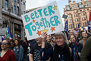 Together for the final say march for a People's Vote on 19th October 2019 in London, United Kingdom. On this day parliament will be sitting on a Saturday for the first time since the 1980s, as time runs out before the PM is supposed to ask the EU for a three month extension by law under the Benn Act. With less than two weeks until the UK is supposed to be leaving the European Union, the final result still hangs in the balance and protesters gathered in their hundreds of thousands to make political leaders take notice and to give the British public a vote on the final Brexit deal, with the aim to revoke Article 50.