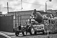An Angry Bird Zulu parade float being moved back to its den on Mardi Gras day in New Orleans after the parade