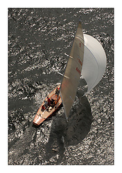 Sailing -Day 3 racing at the 8 metre World Championship 2007 held on the Clyde at The Royal Northern & Clyde YC as part of it's Centennial year...Aerial of Ganymede GBR 1..