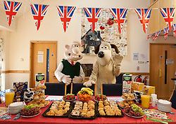 © licensed to London News Pictures. London, UK 11/04/2012. Wallace & Gromit join the launch of The Big Breakfast charity fundraiser at the Richard House Children Hospice to encourage people to organise charity breakfasts to support children hospices all around the country. Photo credit: Tolga Akmen/LNP