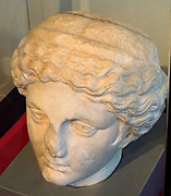 Head from a Greek statue of a muse. Made in ancient Israel 2nd-3rd Century, BC