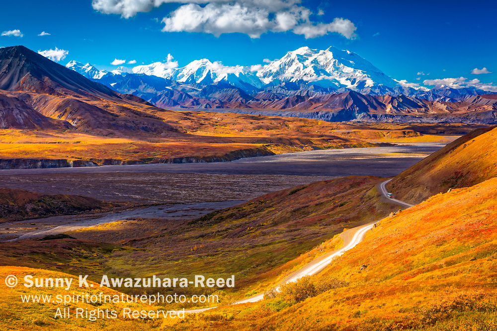 Mount Denali (McKinley), viewed from above Eielson area. Park Road and fall color tundra hill is in the foreground. Denali National Park & Preserve, Alaska, Autumn.