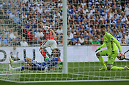 Arsenal's Mesut Özil(11) shoots at goal and hits the inside of the post during the The FA Cup final match between Arsenal and Chelsea at Wembley Stadium, London, England on 27 May 2017. Photo by Shane Healey.