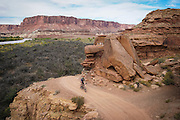 SHOT 10/14/16 3:06:33 PM - Tom Reynolds of Denver, Co. rides the White Rim Trail. The White Rim is a mountain biking trip in Canyonlands National Park just outside of Moab, Utah. The White Rim Road is a 71.2-mile-long unpaved four-wheel drive road that traverses the top of the White Rim Sandstone formation below the Island in the Sky mesa of Canyonlands National Park in southern Utah in the United States. The road was constructed in the 1950s by the Atomic Energy Commission to provide access for individual prospectors intent on mining uranium deposits for use in nuclear weapons production during the Cold War. Four-wheel drive vehicles and mountain bikes are the most common modes of transport though horseback riding and hiking are also permitted.<br /> (Photo by Marc Piscotty / © 2016)