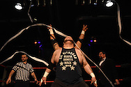 """Danny """"Mafia"""" Maff, of """"Da Hit Squad,"""" and his partner enter the ring at the Beyond Wrestling Organization's """"Dream Left Behind"""" event, held at the Center for Arts at the Armory in Somerville, Sunday, Jan. 31, 2016."""