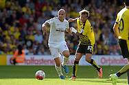 Jonjo Shelvey of Swansea City holds off Alessandro Diamanti of Watford. Barclays Premier League, Watford v Swansea city at Vicarage Road in London on Saturday 12th September 2015.<br /> pic by John Patrick Fletcher, Andrew Orchard sports photography.