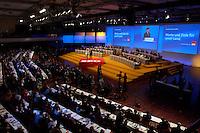 21 MAR 2004, BERLIN/GERMANY:<br /> Uebersicht außerordentlicher SPD Bundesparteitag, waehrend der Rede von Gerhard Schroeder, SPD, Bundeskanzler, Estrel Convention Center<br /> IMAGE: 20040321-01-030<br /> KEYWORDS: Parteitag, party congress, Gerhard Schröder, speech, Übersicht