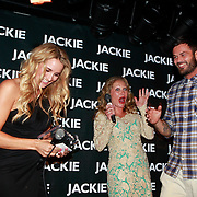 NLD/Amsterdam/20110630 - Uitreiking Jackie's Bachelor List 2011, winnaar Arie Boomsma met Lieke van Lexmond en hoofdredactrice Eva Hoeke
