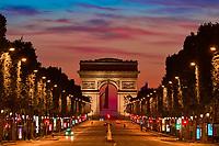 Paris , France - April 26 , 2020 :  empty Champs Elysées avenue during the  lock down coronavirus covid-19 quarantine