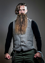 Maxwell Newton attends the fourth British Beard and Moustache Championships at the Empress Ballroom, Winter Gardens, Blackpool.