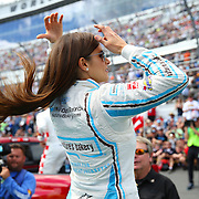 Race car driver Danica Patrick is seen during driver introductions prior to the 58th Annual NASCAR Daytona 500 auto race at Daytona International Speedway on Sunday, February 21, 2016 in Daytona Beach, Florida.  (Alex Menendez via AP)