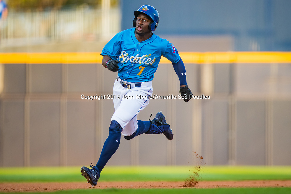 Amarillo Sod Poodles outfielder Taylor Trammell (7) against the Tulsa Drillers during the Texas League Championship on Wednesday, Sept. 11, 2019, at HODGETOWN in Amarillo, Texas. [Photo by John Moore/Amarillo Sod Poodles]