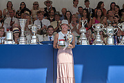 """Henley on Thames, United Kingdom, 8th July 2018, Sunday, Winner,  """"The Princess Royal Challenge Cup"""", """"Jeannine GMELIN"""", SUI W1X,  """"Fifth day"""", of the annual,  """"Henley Royal Regatta"""", Henley Reach, River Thames, Thames Valley, England, © Peter SPURRIER,"""