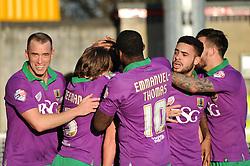 Bristol City's Luke Ayling celebrates with his team mates after scoring. - Photo mandatory by-line: Dougie Allward/JMP - Mobile: 07966 386802 - 07/03/2015 - SPORT - Football - Crawley - Broadfield Stadium - Crawley Town v Bristol City - Sky Bet League One