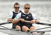 Amsterdam, HOLLAND, NZL M2-, bow Nathan TWADDLE and Goerge DRINKWATER,  move away from the start,  at the 2007 FISA World Cup Rd 2 at the Bosbaan Regatta Rowing Course. [Date] [Mandatory Credit: Peter Spurrier/Intersport-images]..... , Rowing Course: Bosbaan Rowing Course, Amsterdam, NETHERLANDS