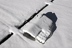 THEMENBILD - tiefverschneite Scheune mit gelagerten Heuballen auf einer Schneebedeckten Wiese. Matrei in Osttirol, Österreich am Dienstag, 5. Januar 2021. Luftbild, aufgenommen mit einer Drohne, nach den starken Schneefällen welche vom 5. bis 8. Dezember 2020 sowie vom 1. bis 3 Jänner 2021 über Osttirol und Oberkärnten nieder gingen, sorgten für grosse Neuschneemengen in der Region // Deep snow covered barn with stored hay bales on a snow covered meadow,. Matrei in East Tyrol, Austria on Tuesday, January 5, 2021. Aerial photo, taken with a drone, after the heavy snowfalls which fell over East Tyrol and Upper Carinthia from December 5 to 8, 2020, and from January 1 to 3, 2021, caused large amounts of new snow in the region. EXPA Pictures © 2021, PhotoCredit: EXPA/ Johann Groder
