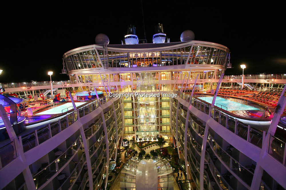 Launch of Royal Caribbean International's newest ship Allure of the Seas..View of Pool deck and Central park.