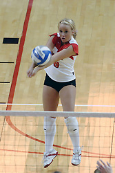 24 November 2006: Kasey Mollerus receives the ball and passes it forward during a Quarterfinal match between the Illinois State University Redbirds and the Creighton University Bluejays. The Tournament was held at Redbird Arena on the campus of Illinois State University in Normal Illinois.<br />