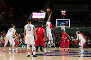 DALLAS, TX - JANUARY 4: The SMU Mustangs tip off against the Connecticut Huskies on January 4, 2014 at Moody Coliseum in Dallas, Texas.  (Photo by Cooper Neill) *** Local Caption ***