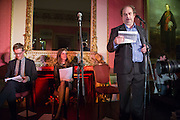 ARTHUR HOUSE; LUCY BERESFORD; ALEXANDER WAUGH, The Literary Review Bad Sex in Fiction Award 2013. The In and Out Club, 4 St. james's Sq. London. 3 December 2013