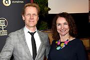 Gouden RadioRing Gala 2018 in theater Gooiland, Hilversum.<br /> <br /> Op de foto:   Menno Bentveld en partner