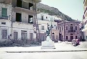 Statue of mythological Neptune on harbour, Pothia (Pothaia), Kalymnos, The Dodecanese, South Aegean Region, Greece 1973