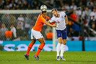 Netherlands Defender Virgil van Dijk (Liverpool) and England forward Harry Kane (Tottenham) clash in the air during the UEFA Nations League semi-final match between Netherlands and England at Estadio D. Afonso Henriques, Guimaraes, Portugal on 6 June 2019.