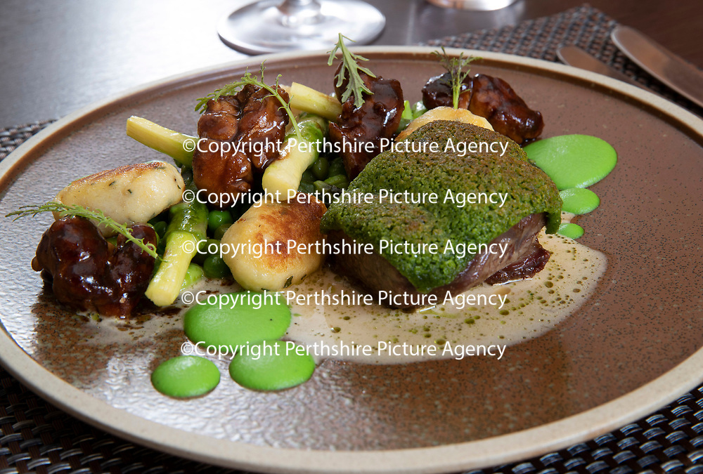 Daily Record Restaurant Review…14.06.18<br />Deans Restaurant, Kinnoull Street, Perth…Pink rumpof spring lamb-aspargus, pea & broad bean fricassee, tarragon gnocchi and glazed sweetbread.<br />Picture by Graeme Hart.<br />Copyright Perthshire Picture Agency<br />Tel: 01738 623350  Mobile: 07990 594431