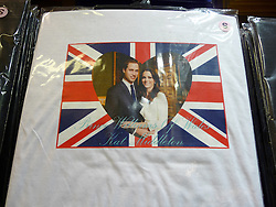 © under license to London News Pictures.  .William and Kate souvenirs ahead of the Royal Wedding in April 2011. T-Shirts of the Royal Couple..Photo credit should read Craig Shepheard / London News Pictures