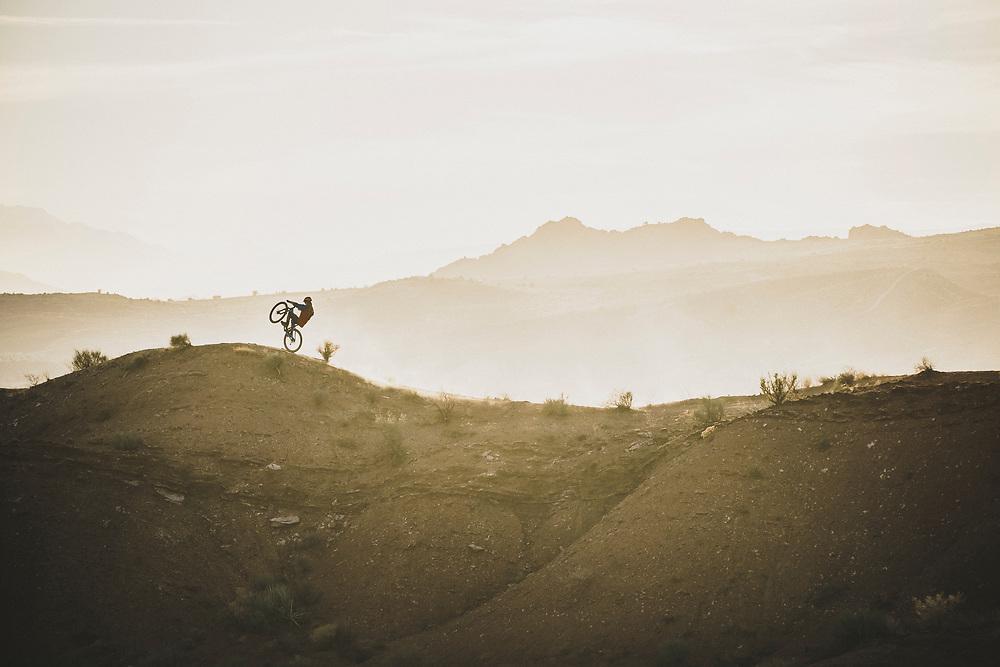 Jeremy Hottinger out for a sunset ride, Virgin, Utah.