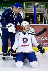 Andrej Hebar st. and David Rodman at first practice of Slovenian National Ice hockey team before World championship of Division I - group B in Ljubljana, on April 5, 2010, in Hala Tivoli, Ljubljana, Slovenia.  (Photo by Vid Ponikvar / Sportida)