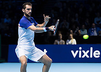 Tennis - 2017 Nitto ATP Finals at The O2 - Day One<br /> <br /> Group Boris Becker Singles: Alexander Zverev (Germany) Vs Marin Cilic (Croatia)<br /> <br /> Marin Cilic (Croatia) powers into the shot at the O2 Arena<br /> <br /> COLORSPORT/DANIEL BEARHAM