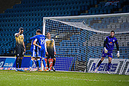 GOAL 4 -0 Gillingham Midfielder Olly Lee (11) celebrates his goal with Gillingham FC forward Vadaine Oliver (19) as Crewe Alexandra goalkeeper Dave Richards (13), Crewe Alexandra defender Omar Beckles (29) and Crewe Alexandra defender Rio Adebisi (21) look dejected during the EFL Sky Bet League 1 match between Gillingham and Crewe Alexandra at the MEMS Priestfield Stadium, Gillingham, England on 26 January 2021.