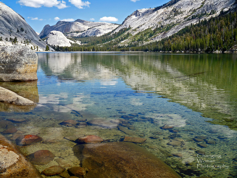 The smooth, still surface of Tenaya Lake's crystal-clear water reflects surrounding white granite mountains and the bright blue sky while revealing the lake bed's rocky terrain. Horizontal landscape image