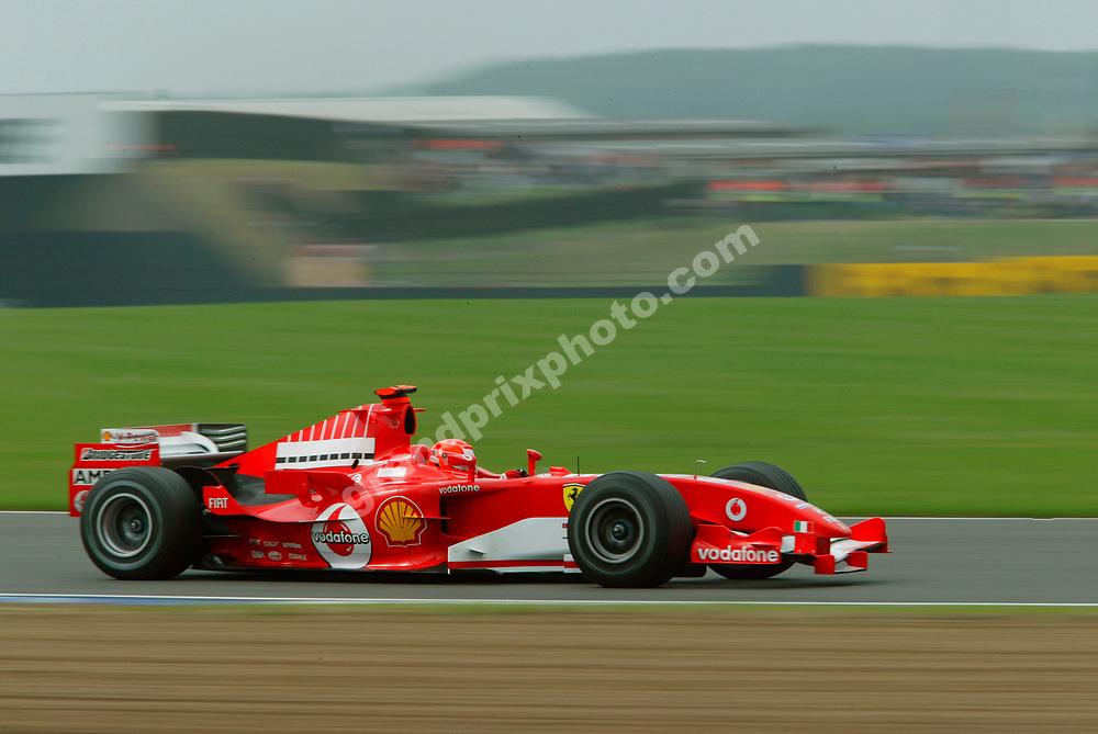 Michael Schumacher (Ferrari) during practice for the 2005 British Grand Prix at Silverstone. Photo: Grand Prix Photo