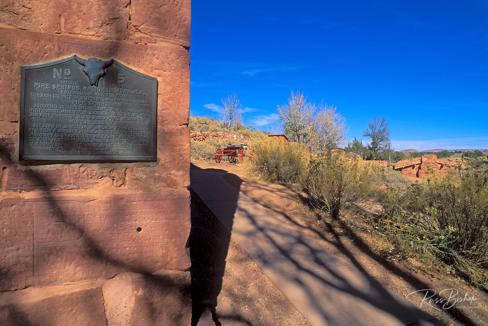"""The National Monument plaque on Winsor Castle (""""the fort"""" built 1869-70; first telegraph office in Arizona), Pipe Spring National Monument, Arizona"""