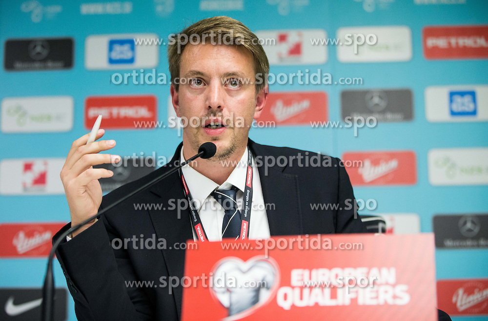 Matjaz Krajnik, PR of Slovenia at press conference after the football match between National teams of Slovenia and England in Round #3 of FIFA World Cup Russia 2018 Qualifier Group F, on October 11, 2016 in SRC Stozice, Ljubljana, Slovenia. Photo by Vid Ponikvar / Sportida