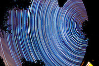 North View Star Trails. Summer Night in New Jersey. Image taken with a Nikon D3s and 16 mm f/2.8 mm Fisheye lens (ISO 400, 16 mm, f/4, 59 sec). Composite of 300 images combined using the Startrails program.