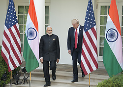 June 26, 2017 - Washington, District of Columbia, United States of America - United States President Donald J. Trump and  Prime Minister Narendra Modi of India arrive to deliver joint statements in the Rose Garden of the White House in Washington, DC on Monday, June 26, 2017..Credit: Ron Sachs / CNP (Credit Image: © Ron Sachs/CNP via ZUMA Wire)