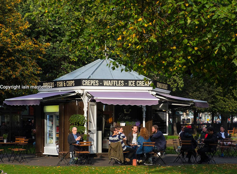 Outdoor cafe in Princes Street Gardens in Edinburgh, Scotland, United Kingdom.