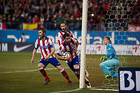Atletico de Madrid´s Raul Garcia, Gabi and Mario Suarez and Barcelona´s Marc-Andre Ter Stegen during 2014-15 Spanish King Cup match between Atletico de Madrid and Barcelona at Vicente Calderon stadium in Madrid, Spain. January 28, 2015. (ALTERPHOTOS/Luis Fernandez)